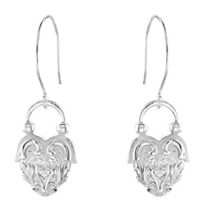 LoveBrightJewelry Vintage Inspired Heart Design Rhodium Plated Sterling Silver Dangle Earrings