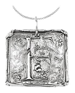 LoveBrightJewelry Vintage Pendant with Letter F Engraved Initial Necklace in Rhodium Plating 925 Sterling Silver