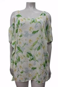 Lovers + Friends Sheer Floral Cold White Combo Top Multi-Color