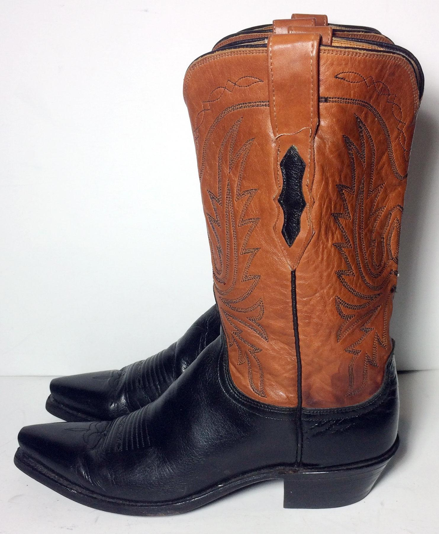 lucchese brown black leather cowboy s boots booties size us