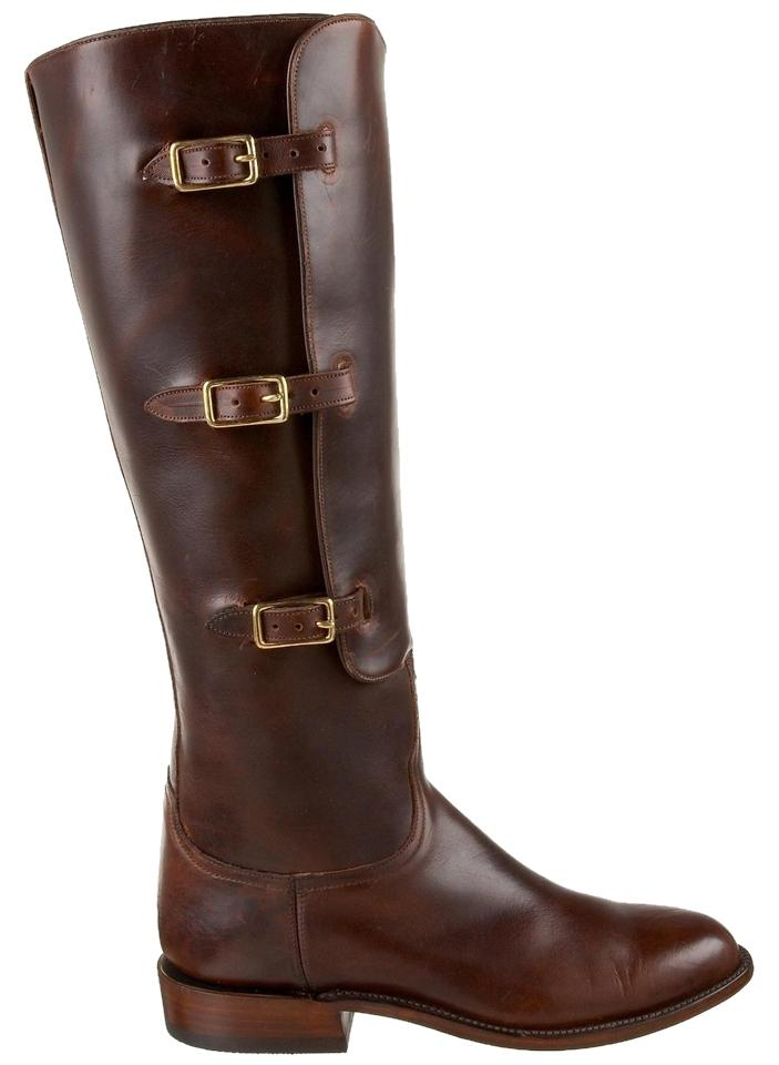 Lucchese Chocolate Oiled Calf Polo Riding Boots/Booties Size US 8.5 Regular (M, B)
