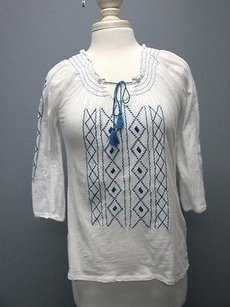 Lucky Brand White Blue Sleeves Top white/blue