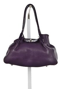 Lulu Guinness Womens Leather Textured Handbag Satchel in Purple
