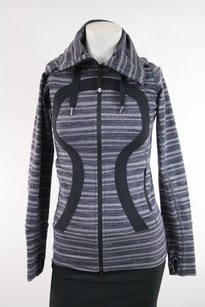 Lululemon Lululemon Black Gray Striped Stride Jacket Hoodie