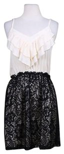 Lush Womens Creme Black Floral Lace Party Above Knee Dress
