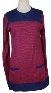 Lux Womens Striped Crew Neck Knit Shirt Acrylic Blend Sweater