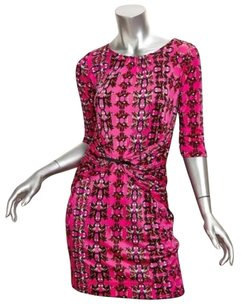M Missoni short dress Pink Womens Floral Knit Sleeve Mini Shift 404 on Tradesy