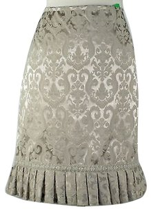 Mac & Jac Champagne Brocade Pleated Hem Bead Embellished B153 Skirt