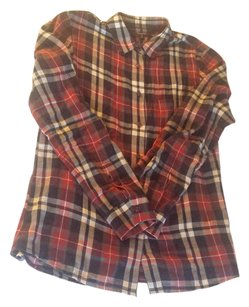 Madewell Flannel Plaid Button Down Button Down Shirt Red