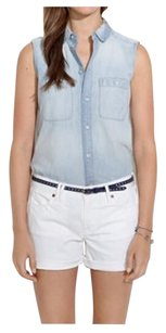 Madewell Denim Preppy Cuffed Shorts White Wash