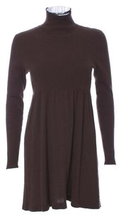 Magaschoni Dark Silk Cashmere Blend Neck Dress