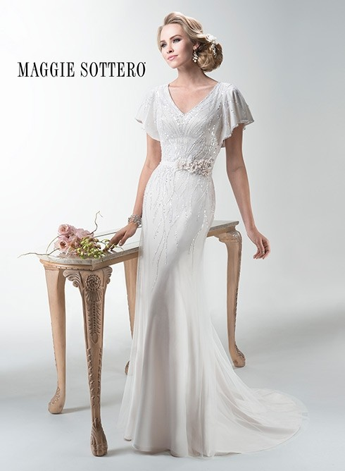 Maggie Sottero Ivory/Blush Chiffon Payton Retro Wedding Dress Size 10 (M)  ...