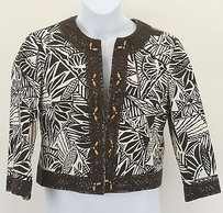 Maggy London Maggy London Brown Ivory Ethnic Print Crochet Trimmed Blazer B297