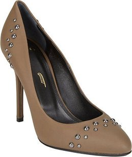 Maiyet Mineral Leather Studded Round Toe Stiletto Heels Taupe Pumps