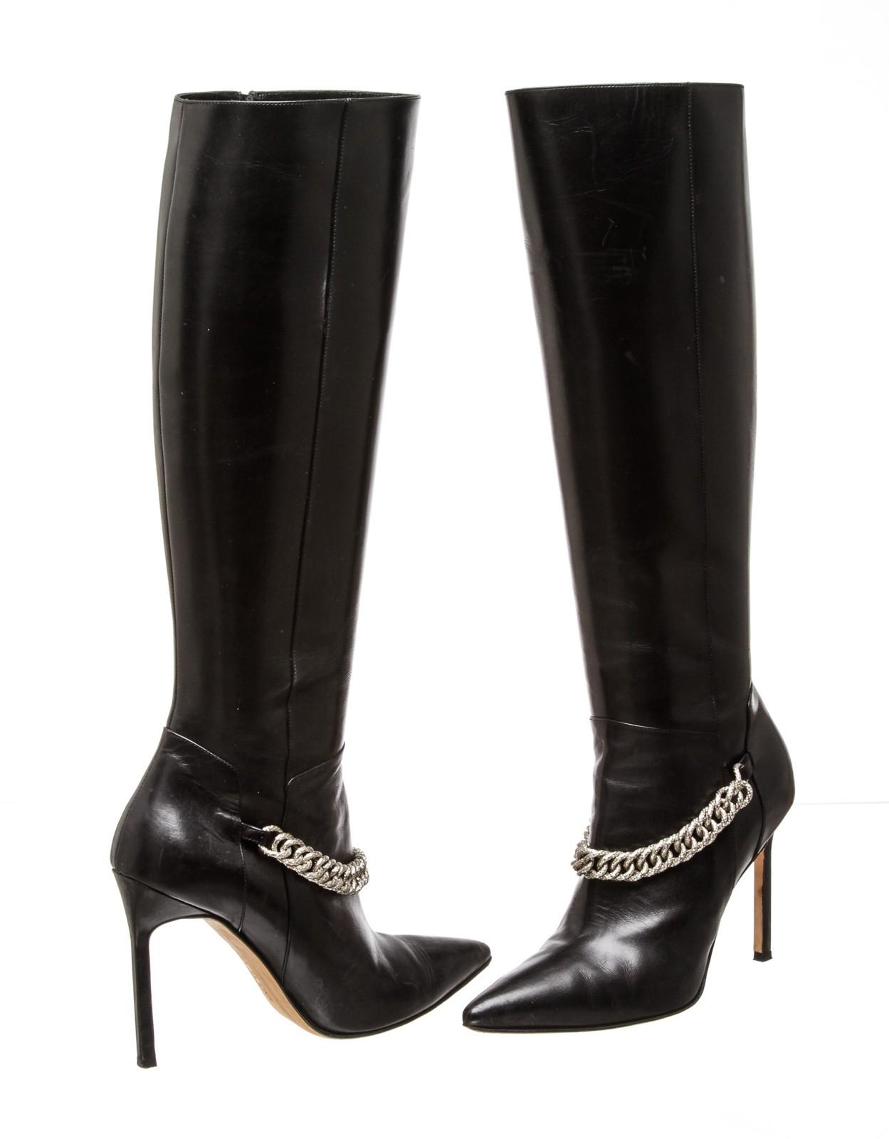 Manolo Blahnik Black Leather Chain-trimmed 38) 485510 Boots/Booties Size EU 38 (Approx. US 8) Regular (M, B)