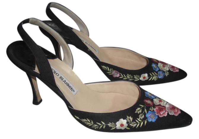 outlet excellent outlet free shipping authentic Manolo Blahnik Embroidered Slingback Pumps outlet locations for sale genuine cheap price sale get to buy 2UCes0A