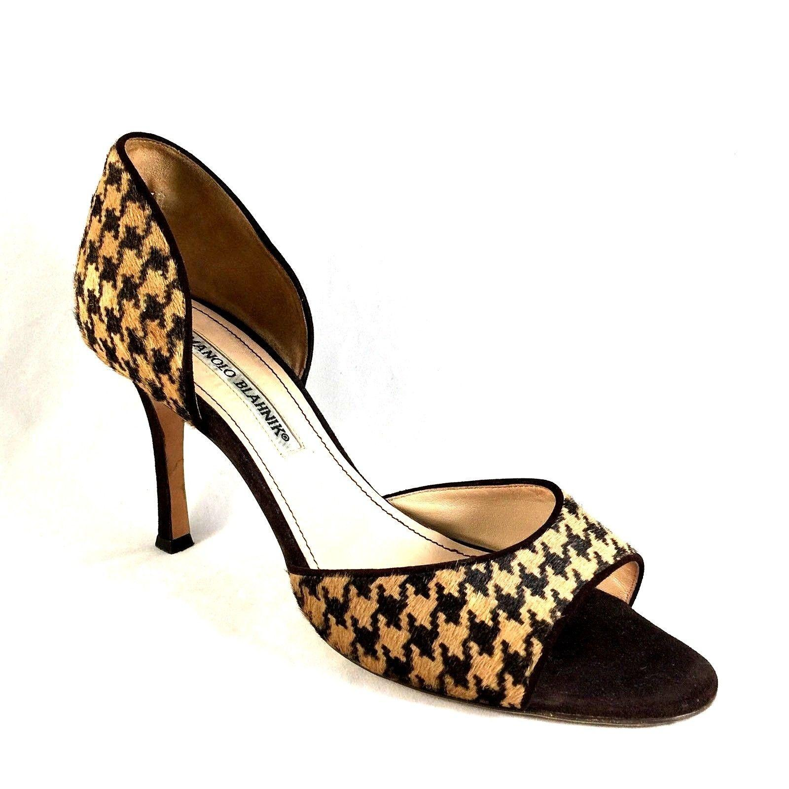 Manolo Blahnik Houndstooth-Trimmed Suede Pumps cheap sale 2015 best store to get cheap online Kbdyvv9