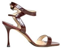 Manolo Blahnik Alligator Open Toe Heels Pumps High Heels Designer brown Sandals