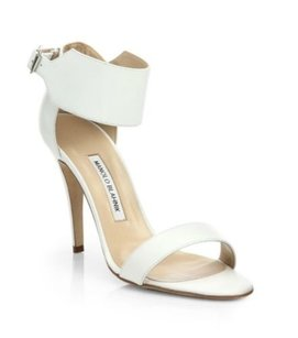Manolo Blahnik Chantalm Ankle White Sandals
