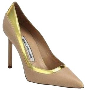 Manolo Blahnik Gold and Nude Pumps