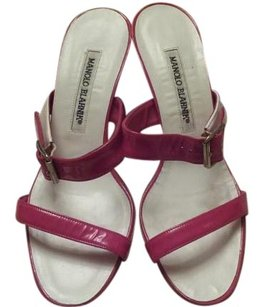 Manolo Blahnik Kitten Heel Red And White Leather red patent Sandals
