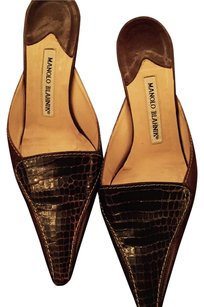 Manolo Blahnik Pointed Toe Brown w/ Snake Accent Mules