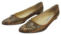 Manolo Blahnik Size 9.00 M Leather Reptile Design Very Good Condition Brown, Neutral, Flats