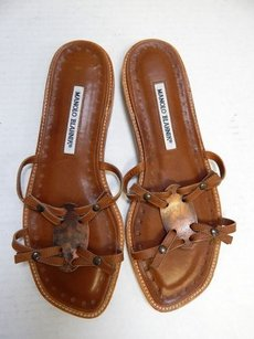Manolo Blahnik 8m Brown Sandals