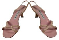 Manolo Blahnik Womens Sandals Leather Strappy Heels Kitten Pink Pumps