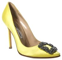 Manolo Blahnik Studded Yellow Pumps