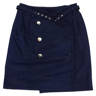 Marc by Marc Jacobs Navy Cotton Silk Wrap Skirt
