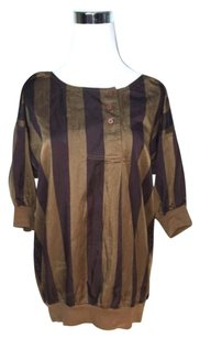 Marc by Marc Jacobs Silk Striped Tunic Top Brown