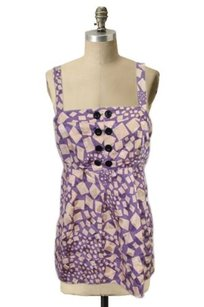 Marc by Marc Jacobs Cream Babydoll Geometric Print Top purple