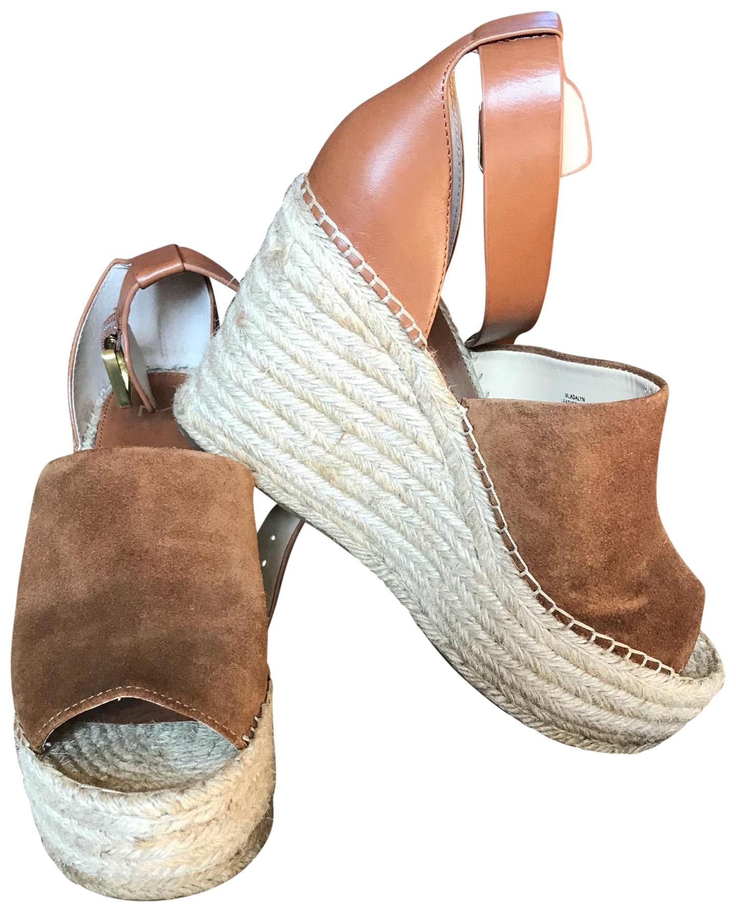 Marc Fisher Tan Espadrille with Ankle Straps. Nubuck Leather Straps Wedges Size US 9 Regular (M, B)