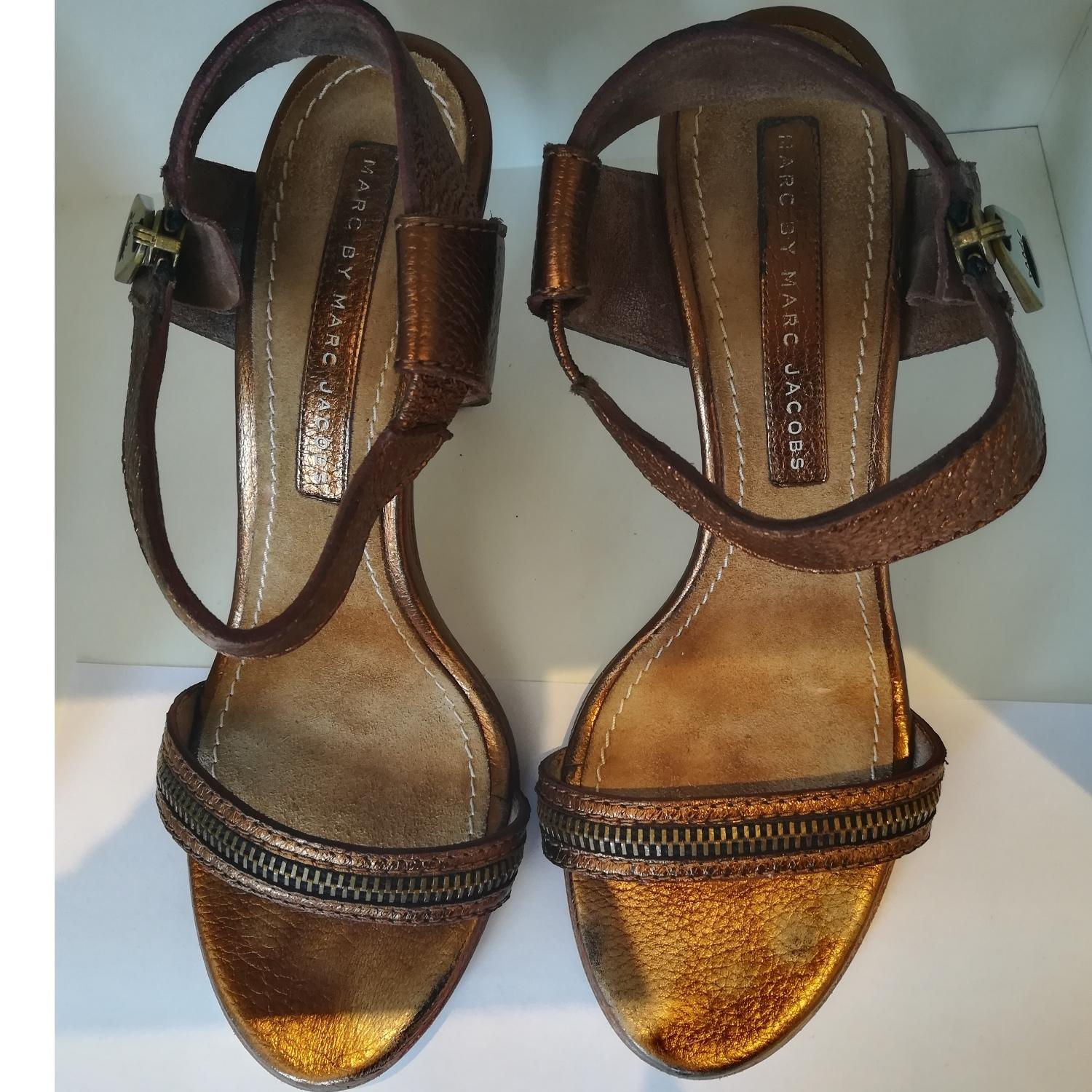 Marc Jacobs Bronze Metallic Strappy Formal Shoes Size EU 38.5 (Approx. US 8.5) Regular (M, B)