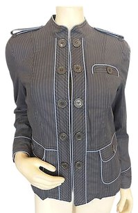 Marc Jacobs Marc Jacobs Gray Blazerbaby Blue Pinstripes Logo Buttons 1248