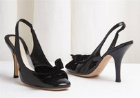 Marc Jacobs Patent Leather Slingback Bow Detail High Heel Black Pumps
