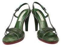 Marc Jacobs Womens Red Solid Heels Leather Slingback Green Pumps