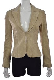 Marciano Marciano Womens Beige Blazer Solid Leather Suede Casual Jacket