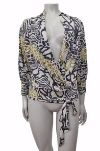 Marciano Silk Animal Print Faux Wrap Shirt Beige Combo Top Multi-Color