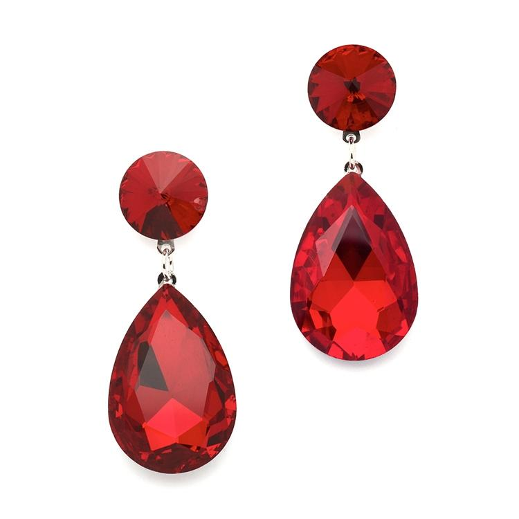 Mariell Red Color Splash Pear-shaped Drop 4161e-re ...