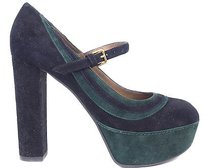 Marni Suede Black / Dark Green Platforms