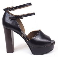 Marni Leather Open Ankle Strap Dorsay Pumps Heels Black Platforms