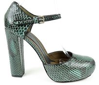 Marni Python Mary Jane Chunky Heel Pumps Eu Emerald Platforms
