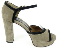 Marni Nubuck Leather Ankle Strap Pumps Heels Taupe / Black Platforms