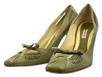 Marni Womens Square Toe Wtw Leather Heels Green Pumps