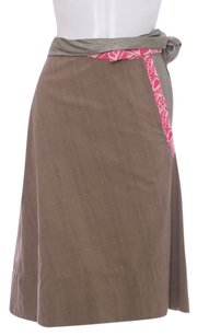 Marni A-line Italian Gold Metallic Skirt Brown