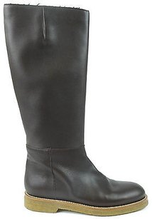 Marni Leather Side Zip Knee High Eu Dark Brown Boots