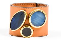 Marni Marni Cognac Brown Black Blue Leather Cabachon Embellished Cuff