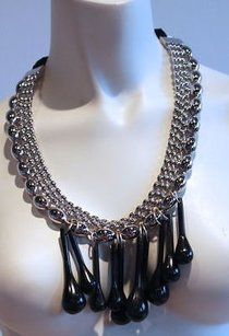 Marni Marni Silver Beaded Carved Resin Bib Statement Necklace Gorgeous